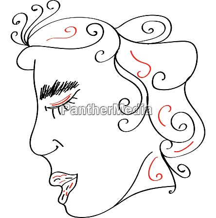 line art of a decorative woman