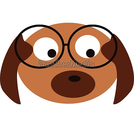 cute brown puppy with glasses vector