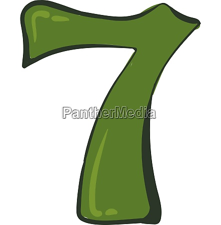 clipart number 7 in green color
