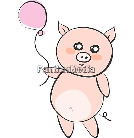 drawing of a cartoon pig holding