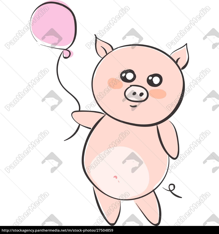 zeichnung, eines, cartoon-schweins, mit, einem, rosa - 27504859