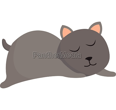 clipart of a grey cat sleeping