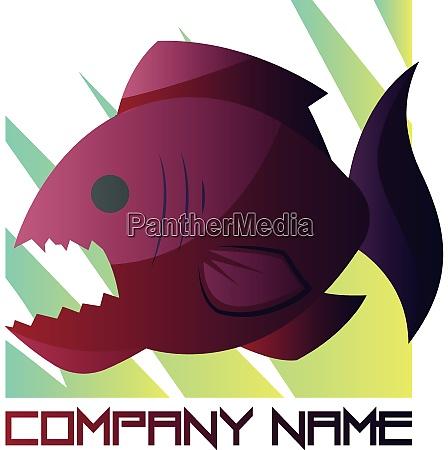 tiefrosa und lila piranha vektor logo