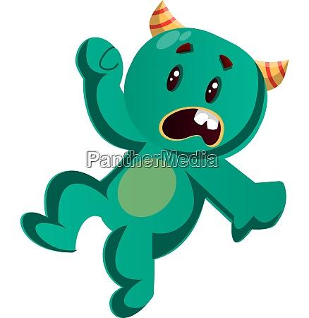 green monster falling vector illustration