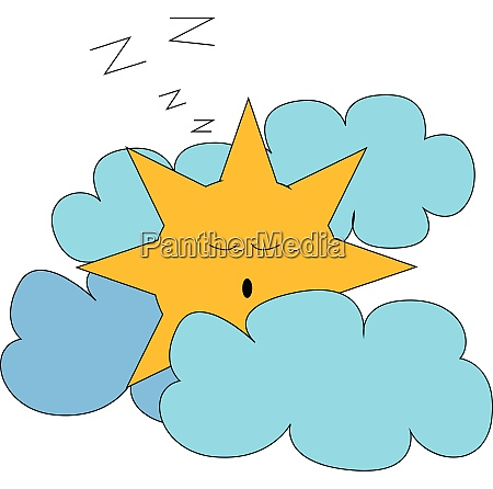 sleeping sun vector or color illustration