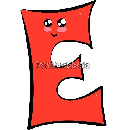 emoji eines niedlichen roten alphabet e