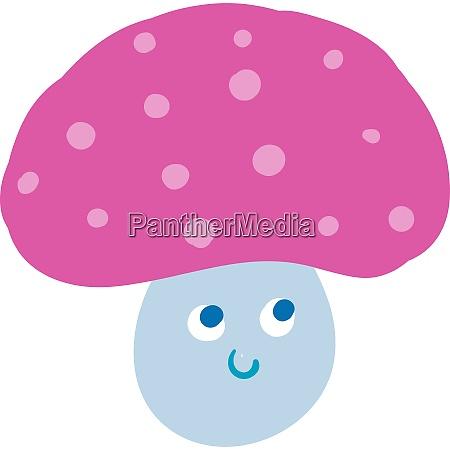 cartoon funny happy pink mushroom vector