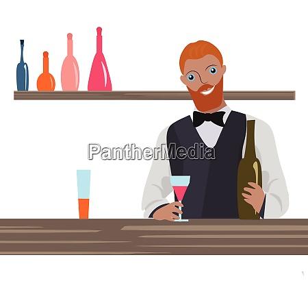 bartender im dienst vektor oder farbabbildung