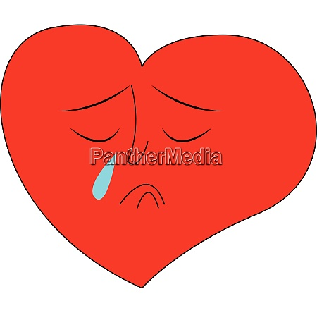 heart crying hand drawn design illustration