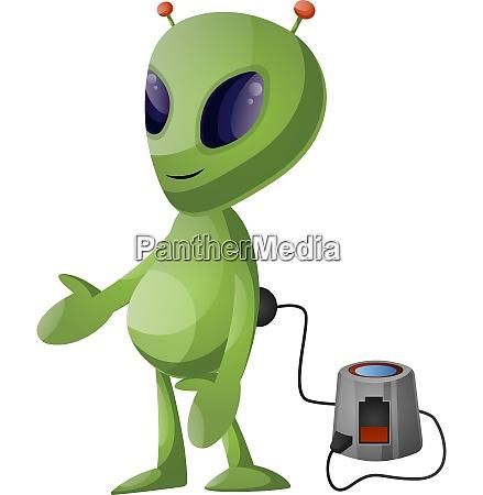 charging alien illustration vector on white
