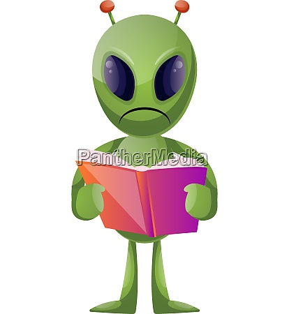 alien with book illustration vector on