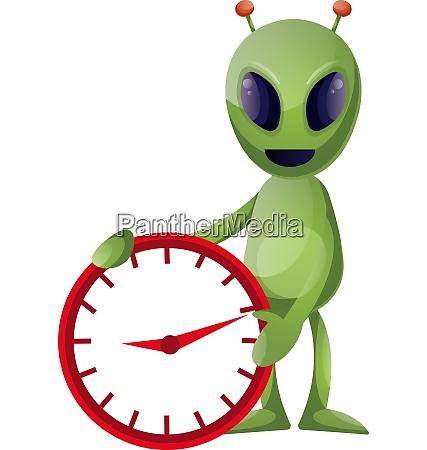 alien with clock illustration vector on