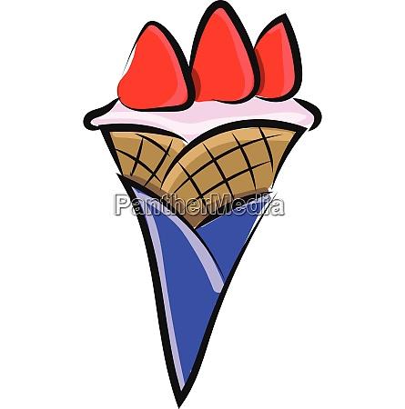 a tasty cone ice cream vector