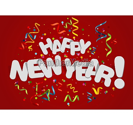 happy new year greeting card on