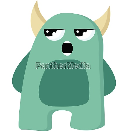 angry green monster with horn vector