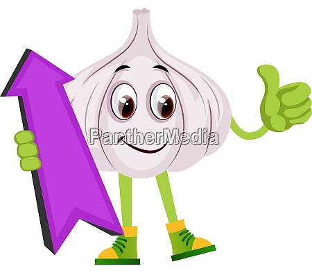 garlic with purple arrow illustration vector