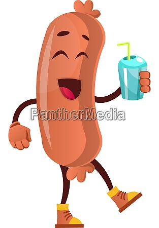 sausage with bottle of water illustration