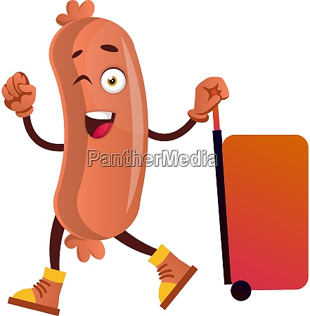 sausage with big red suitcase illustration