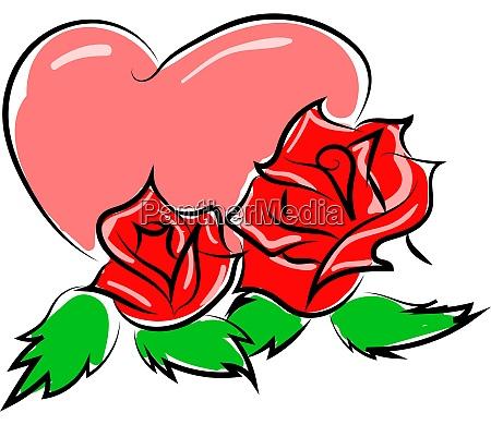 herz mit rosen illustration vektor auf