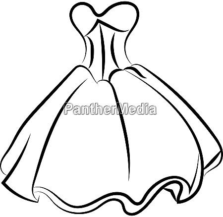 dress drawing illustration vector on white
