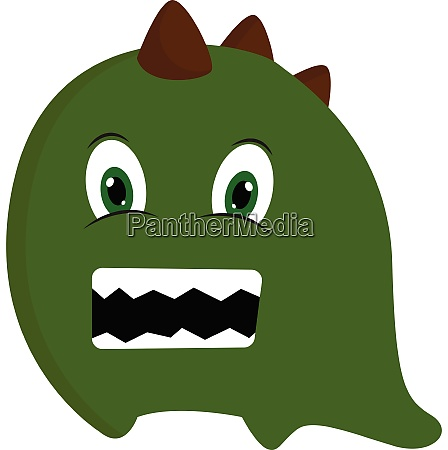 green monster with horns vector or