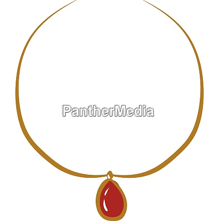 necklace with red 2 stone vector