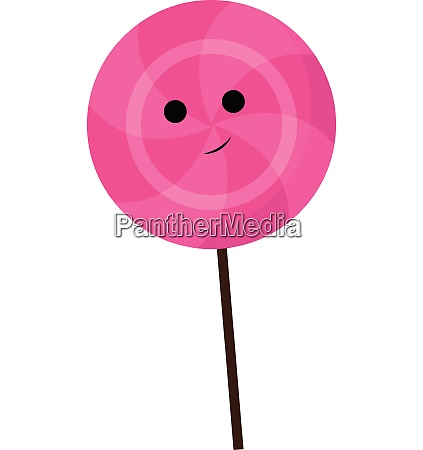 pink color lollipop with smiley with
