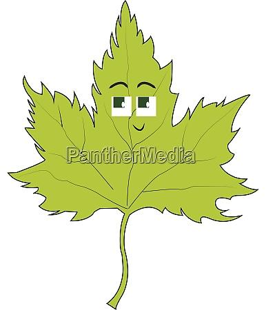 green leaf illustration vector on white
