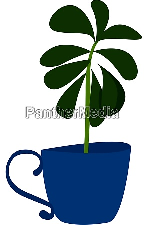 plant in blue pot illustration vector