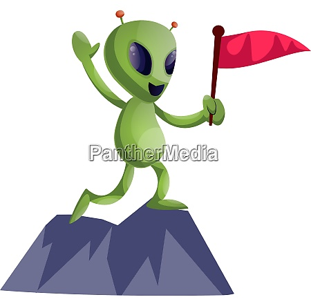 alien mit flagge illustration vektor auf