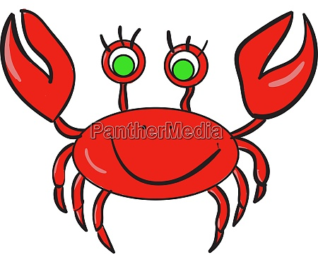 red crab illustration vector on white