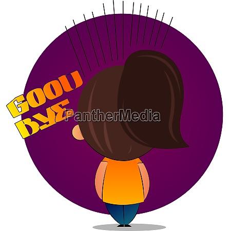 girl with brown ponytail says goodbye