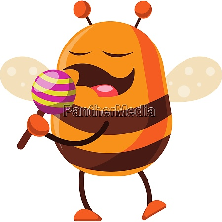 bee is holding a lollipop illustration