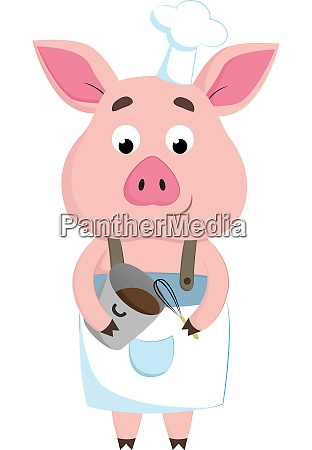 a happy chef pig vector or