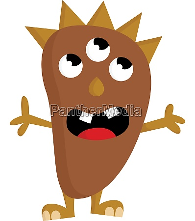 a brown monster with 3 eyes