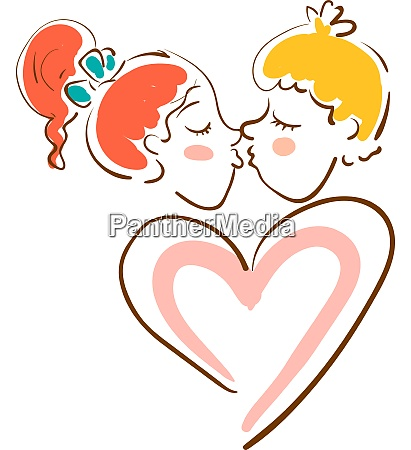 a girl and a boy kissing