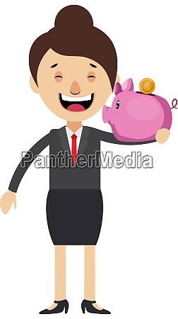 woman with piggy bank illustration vector