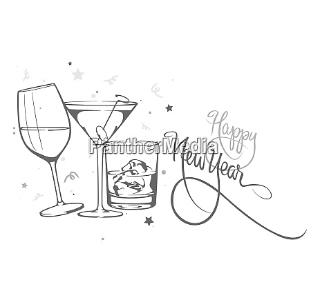 happy new year illustration with glasses