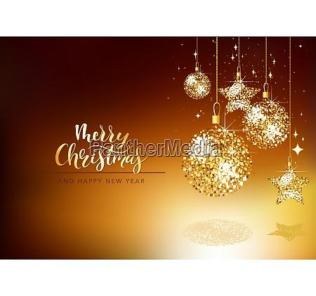 weihnachts grusskarte mit gold glitter ornamente