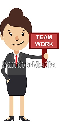 woman with team work sign illustration