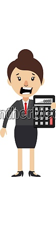 woman with calculator illustration vector on