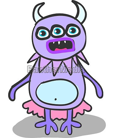 a cute purple monster vector or