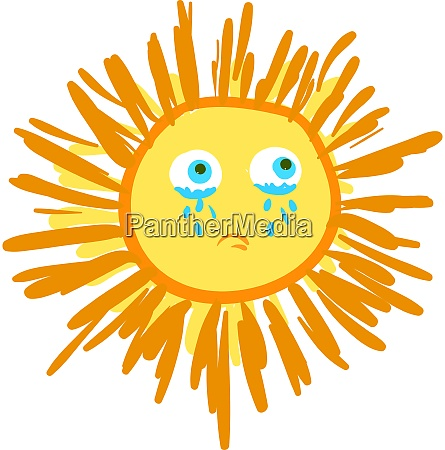 a crying sun vector or color