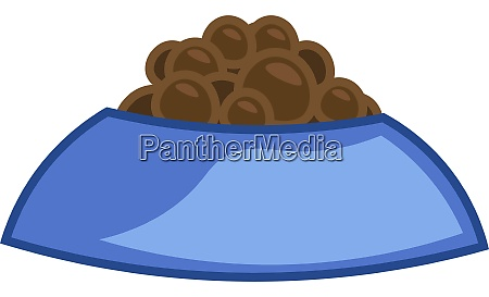 a dog food in a blue