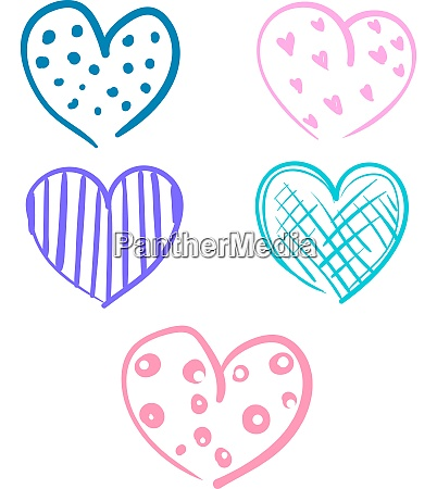 a colorful doodle hearts vector or