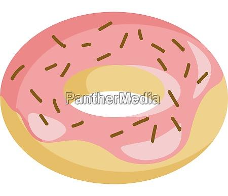 a strawberry doughnut vector or color
