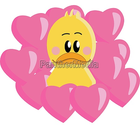 a yellow duck in pink hearts