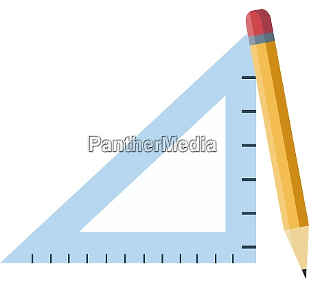 a triangle ruler and a pencil