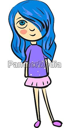 a girl with a blue hair