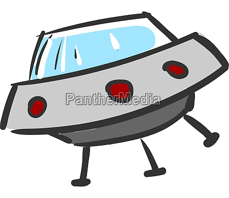 a ufo with red lights vector